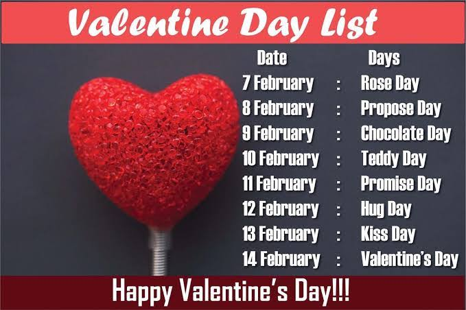 valentine days list